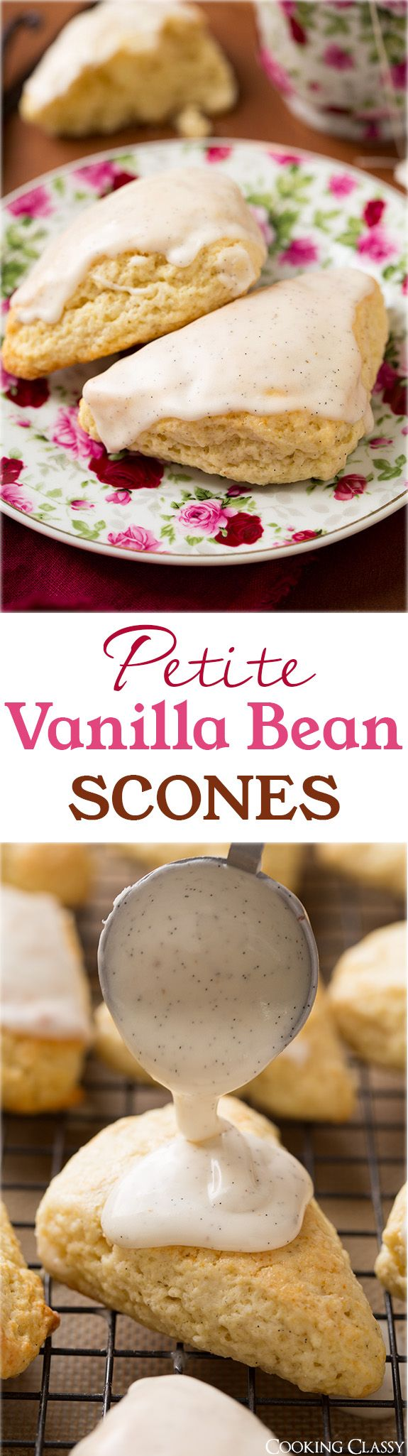 Petite Vanilla Bean Scones with Vanilla Bean Glaze (better than Starbucks!) - these are to die for! Soft, moist and utterly delicious.
