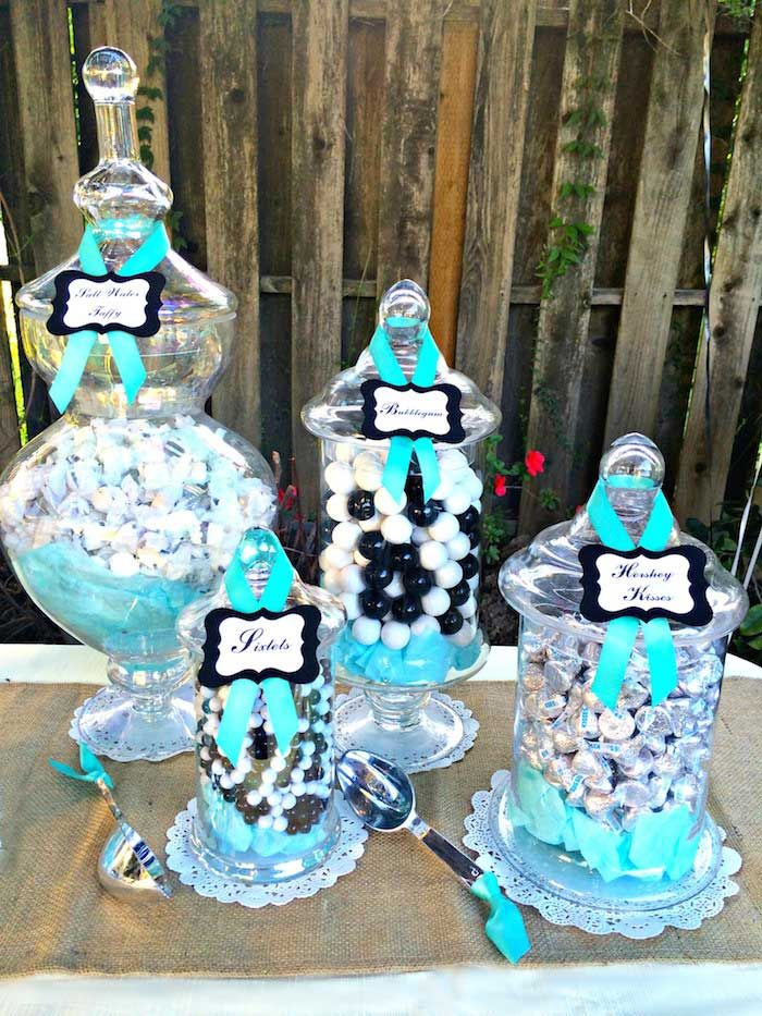 black white and tiffany blue dessert table and candy buffet
