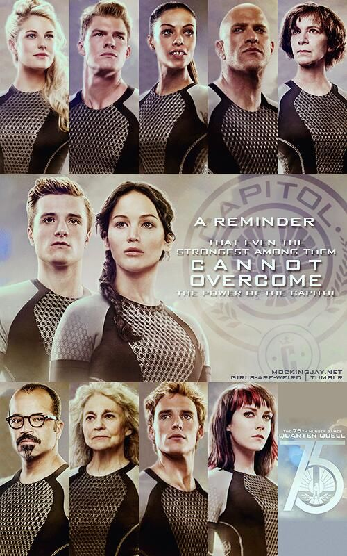 Left to right:Cashmere and Gloss(district 1), Enobaria and Brutus ( district 2), Wiress (district 3), Peeta and Katniss ( district 12), Beetee ( district 3), Mags and Finnick ( district 4), Johanna (district 7)
