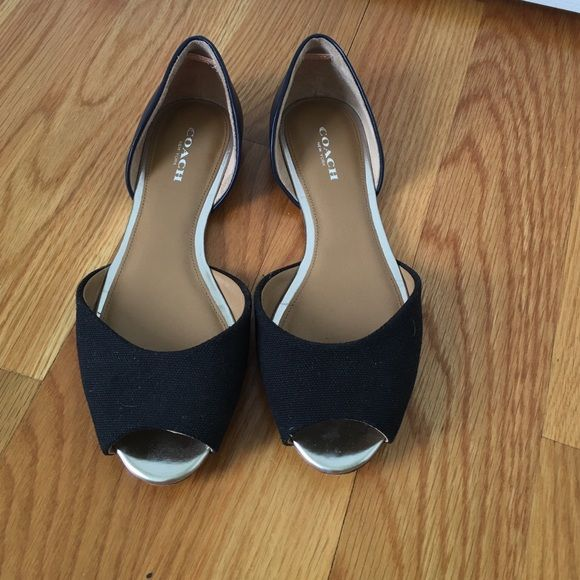 Coach flats Open toe Coach flats size 6.5. Fabric covering toes is black and the leather covering the heels is navy blue. Coach Shoes Flats & Loafers