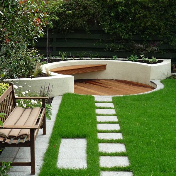 Square concrete pavers maybe around perimeter of house for Small area garden design ideas