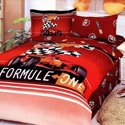 Le Vele Formula Duvet Cover Bed in Bag Twin Kids Bedding Juvenile Set LE44T by Le Vele. $110.00. Package Content and Sizes in Inches:1 Bed Sheet: 71 x 96. 1 Pillow Case: 20 x 30. 1 Pillow Sham Flanged: 20 x 30 + 2inch flange. Size - Twin. 1 Duvet Cover: 63 x 87. You can almost hear the engines roaring in a Formula Car Racing theme on this colorful toddlers duvet cover set.  4 Pieces Juvenile Duvet Cover Set with Reversible Design.   Fits Twin Size mattress.  Ma...