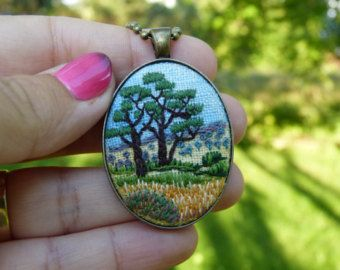 Oval pendant Embroidered jewelry necklace by EmbroideredJewerly