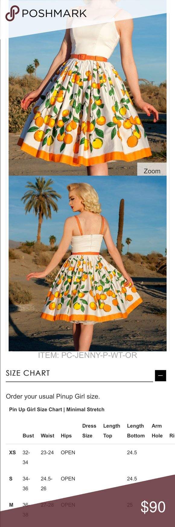 Pinup Girl Clothing Orange Jenny dress. Size: XS, worn twice. Great condition! Needs to go to a nice loving home *comes with  belt Pinup girl clothing  Dresses