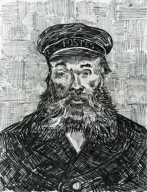 Vincent van Gogh 1888 Portrait of the Postman Joseph Roulin pen & ink 31.8 x 24.3 cm