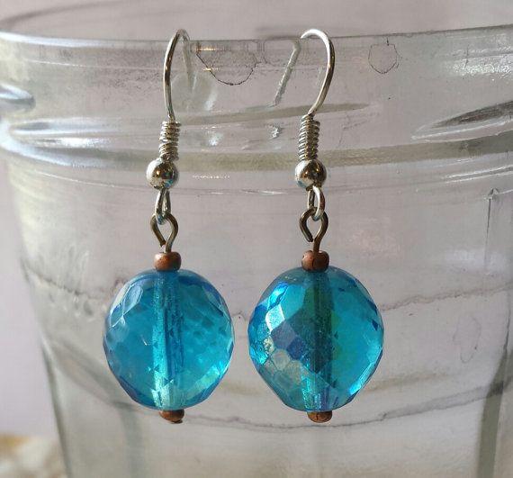 Simple Vintage German Glass Bead Earrings by GypsyJunkStudio