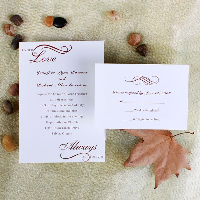 Always United In Love Wedding Invitations IWI210