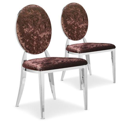 Lot de 2 chaises Sofia velours Marron - Par 2 - Lot de 2 : en vente sur RueDuCommerce