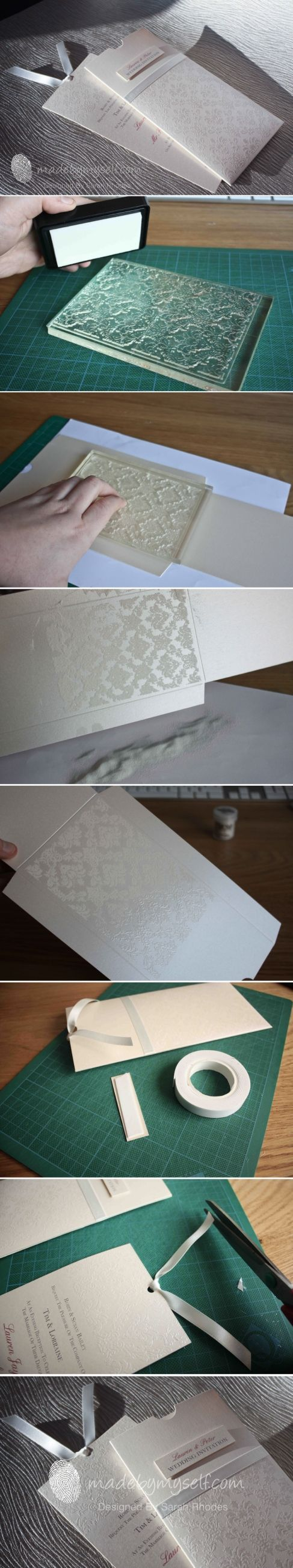 Wedding Invitation using Embossing Powder stamp and Embossing Powder. Full tutorial can be found here: www.madebymyself.com/weddings/wow
