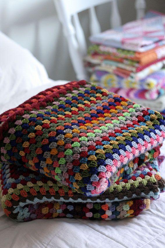 Left over yarn giant granny square blankets