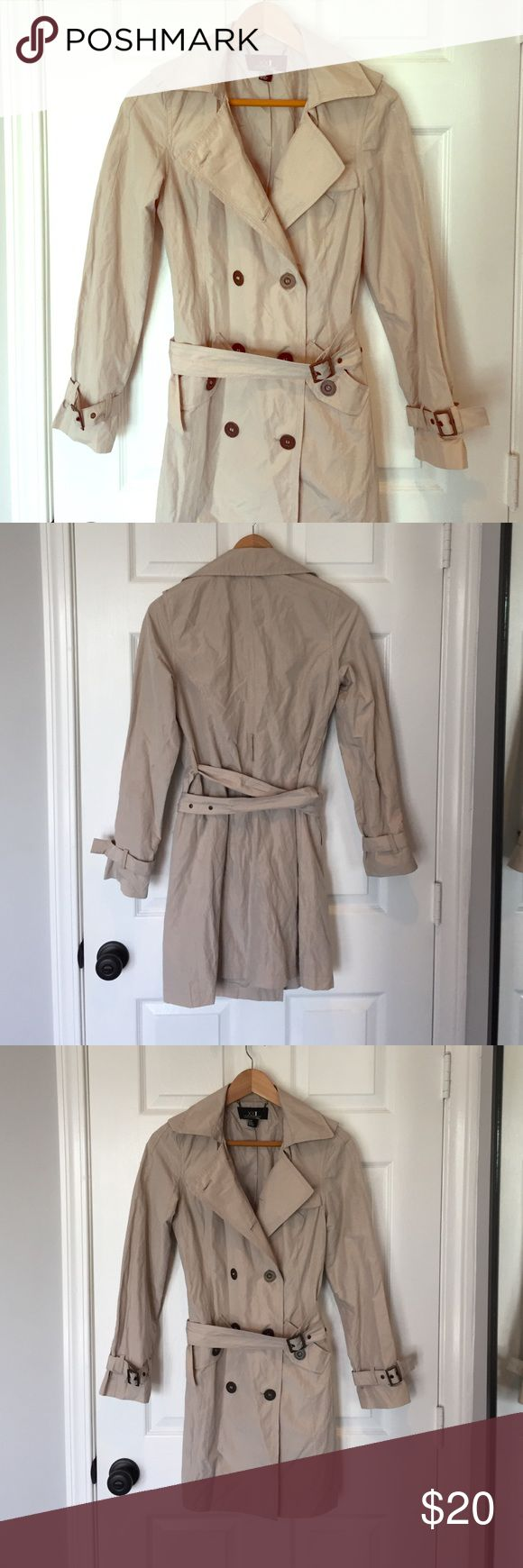 New Beige Women's Rain Coat with Belt & Buckle New beige women's rain coat. Never worn. Great condition. No defects. Forever 21. Size Small. Come with belt. Jackets & Coats Trench Coats