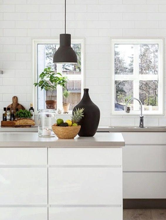 white & gray kitchen, concrete tabletop, black details
