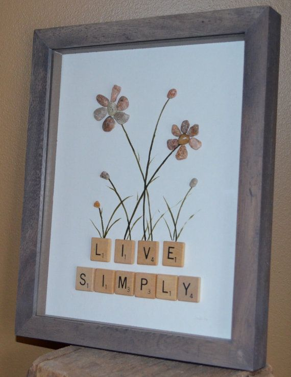 LIVE SIMPLY pebble art shadow box scrabble by BeachMemoriesByJools                                                                                                                                                                                 More