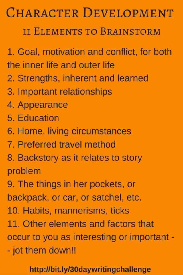 11 Elements to Effectively Brainstorm Character Development in Your #NaNoWriMo Novel. #writingtips #characters