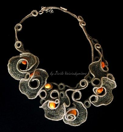 by Živilė Vaičiukynienė- the creator of original Crocheted jewelry piece works, whose objects of artistic expression are jewelry, textiles and paintings created by a special technique.