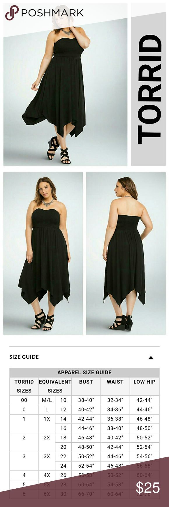 Black Smocked Handkerchief Tube Dress 10 M L Brand new  Plus Size 00 fits like women's med to Large   Summer means easing your what-to-wear worries. This tube dress does just that. The black knit handkerchief hem is the flowy skirt of your summer dreams, while the smocked tube top is all set for letting your shoulders get a major sun kiss.  ?Polyester/rayon/spandexWash cold, dry flatImported plus size dress torrid Dresses