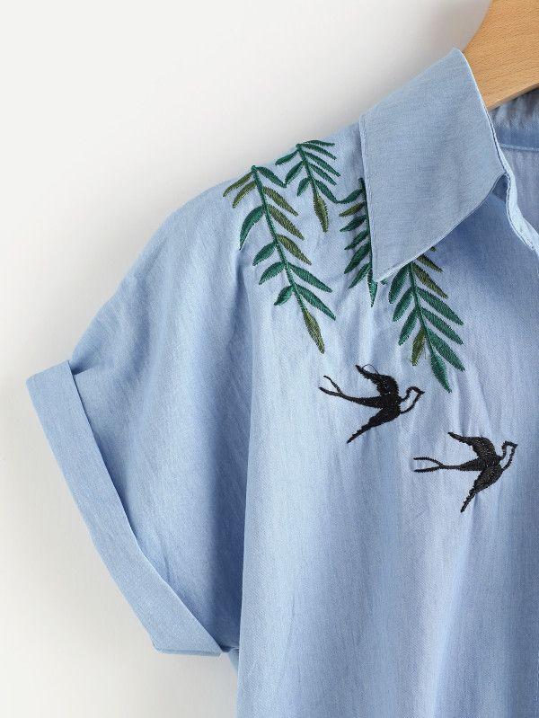 Tee-shirt brodé d'une hirondelle en denim-French SheIn(Sheinside)