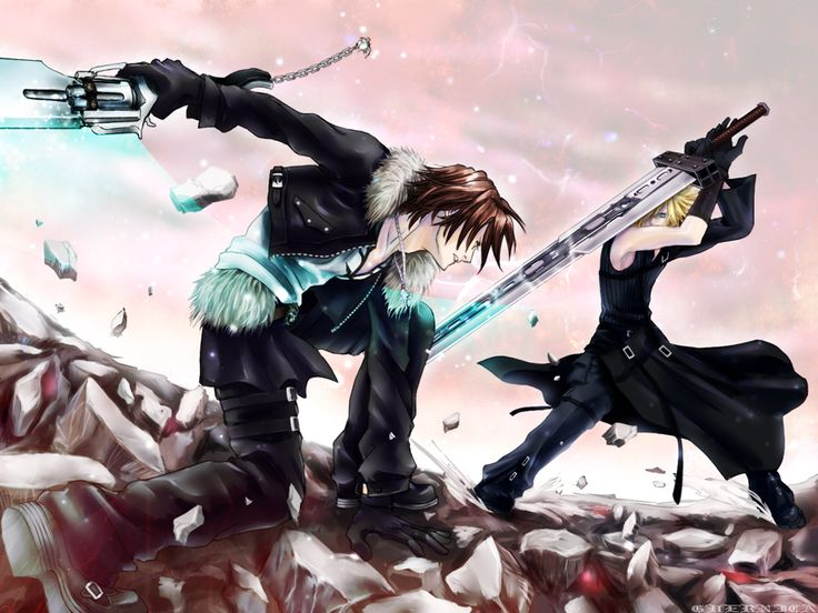 Anime guy sword fighting