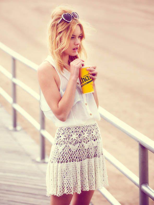 Gorgeous crochet mini skirt.
