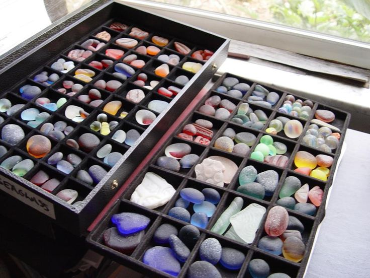 """My """"personal"""" collection. Some of the finest sea glass pieces in the world from a 28 year collection. They include oranges, vivid yellows and such."""