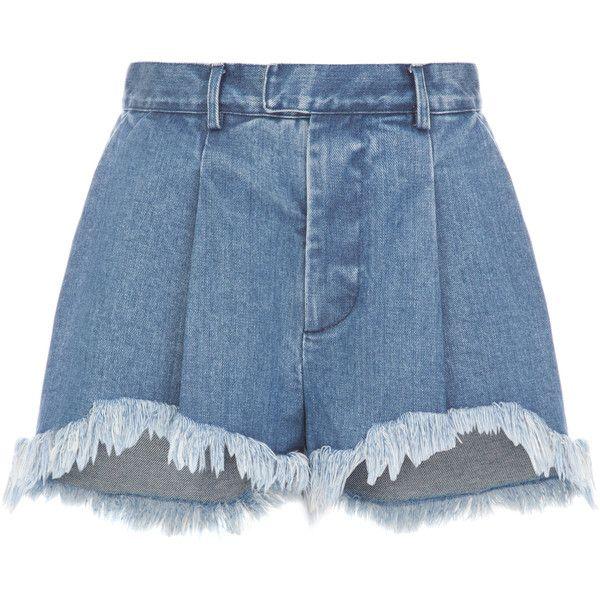 Ksenia Schnaider Fringe Denim Shorts (6.242.495 VND) ❤ liked on Polyvore featuring shorts, blue, high waisted ripped shorts, blue high waisted shorts, destroyed jean shorts, high-waisted jean shorts and distressed denim shorts