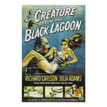Creature from the Black Lagoon Vintage Sci-fi B Movie Poster #creature #black #lagoon #vintage #sci-fi #b #movie #poster #art #retro #horror #science #fiction #fantasy #film #movie