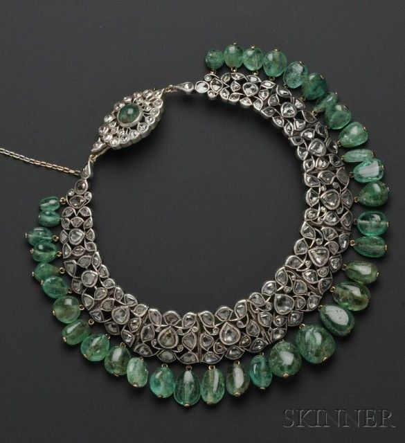 Skinner diamond and emerald collar style necklace, rose cut diamonds and 35 emerald bead drops, stunning!