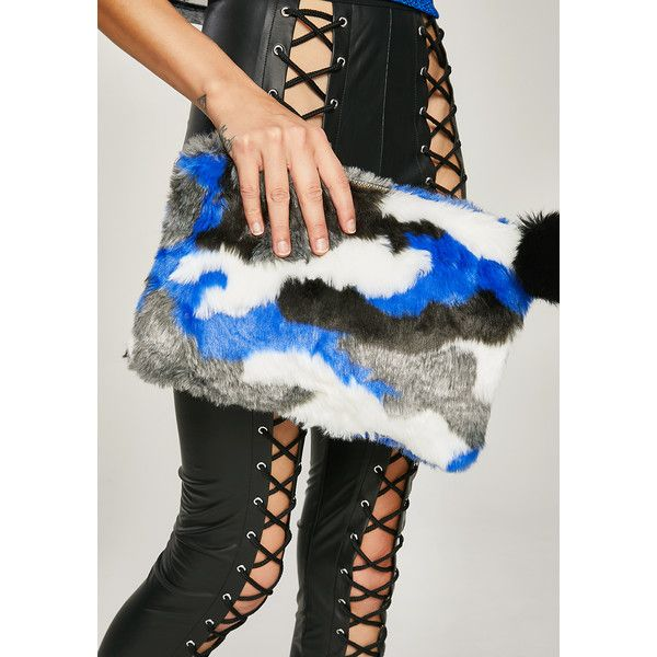 Faux Fur Camo Print Clutch ($25) ❤ liked on Polyvore featuring bags, handbags, clutches, camo purses, pom pom handbag, blue purse, camo handbags and zip purse