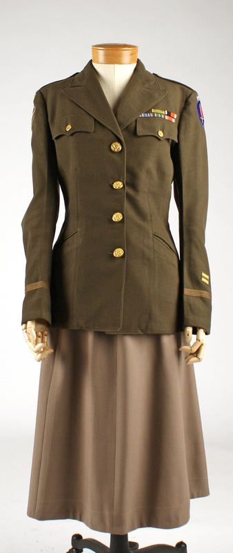 Women's Uniform. Circa 1945 - This is a WAC (Woman's Army Corps) uniform, missing coller insignia and ribbons indicate the owner also served during the US occupation of Germany after the war.