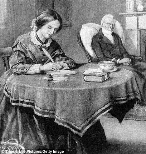An illustration of Charlotte Bronte (1816-1855) at home, at work on her first novel, The Professor, with her ailing father in the background
