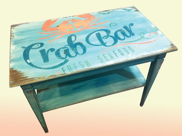 Beach end table!! So cool to paint this one!! I distressed the smithereens out of it, painted it with milk paint and made it have lots of texture. I'm going to make a sign out of the same graphic soon.