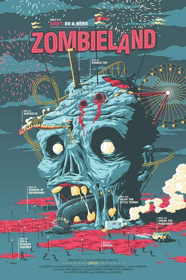 Zombieland by Matthew Florey Rowan / Facebook / Tumblr / Twitter / Instagram / Store 24″ x 36″ screen print, numbered edition of 65. Private commission, not for sale.