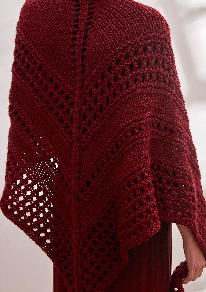 Free Knitting Pattern for Chunky Textured Triangle Shawl - Oversized lace shawl is a quick knit in bulky yarn. Designed by Diane K. Moyer