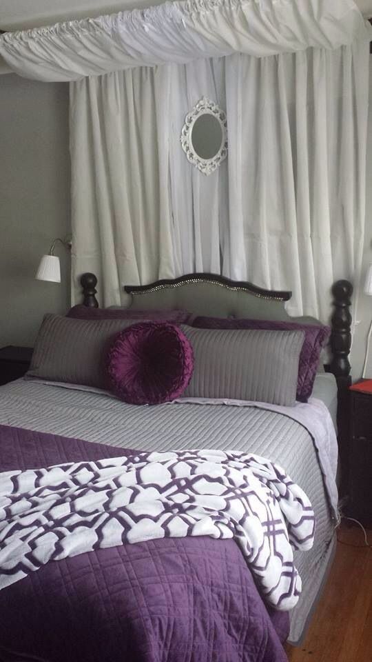 Purple and grey Master Bedroom | Grey, purple, black, and white master bedroom. Wall lamps from and ...