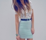 : Baby Blue, Lace Tops, High Waist, Color, Blue Skirts, Cute Outfits, Than, Pencil Skirts, Lace Shirts