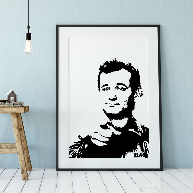 Bill Murray Stripes Movie Art Poster Print Black Frame With Mat Blue Wall Wooden Stool Lightbulb