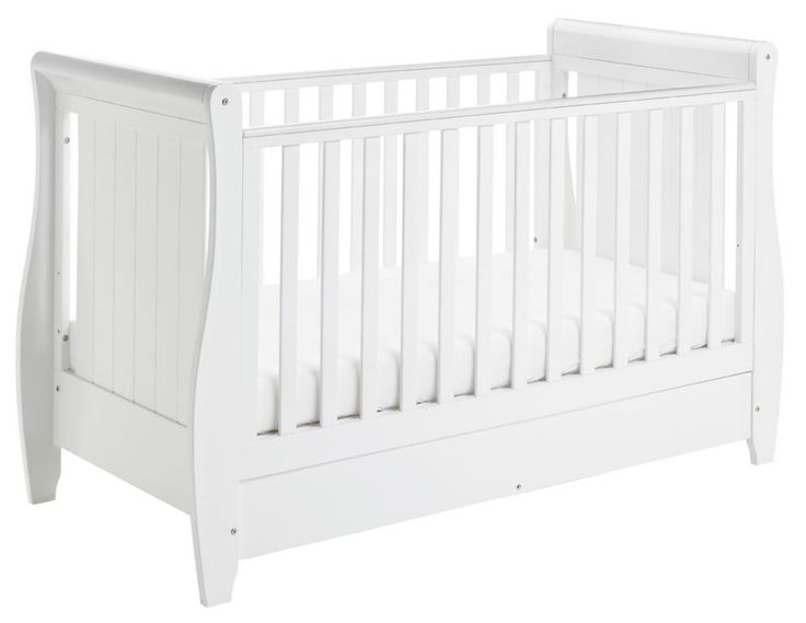 Tesco direct: Babymore Stella Sleigh Cot Bed Dropside with Drawer (White)