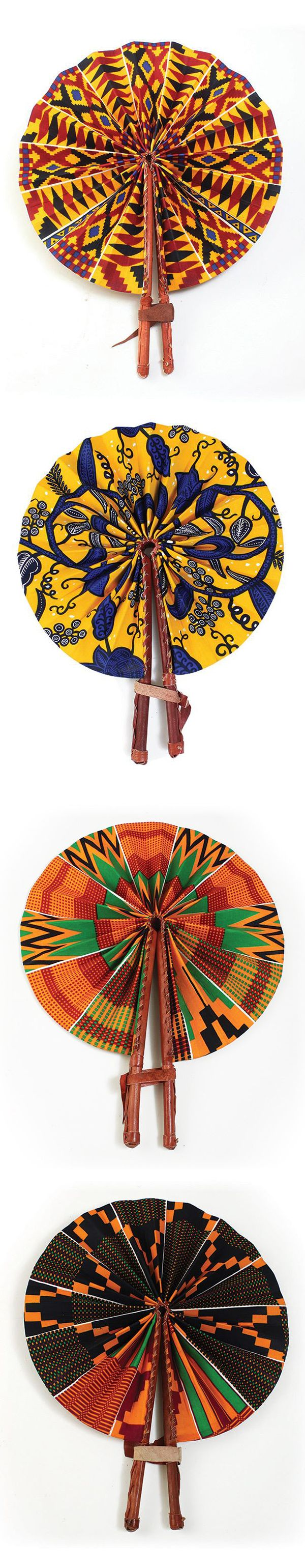 Handmade African leather fans in traditional African patterns - Kente cloth pattern and other traditional African prints on handmade fans made in Kenya.  Beautiful handmade fans in bright African colors.  These African fans are a perfect gift for friends and family, or giving as gifts for a bridal shower.  Celebrate Black History Month with these beautiful traditional African fans.  #african #africa #pattern #fans #gift #kente #pattern #surfacedesign #colorful #blackhistorymonth…