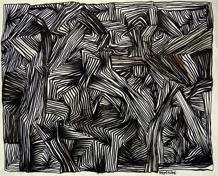 """""""Ornithology""""  chinese ink on canvas  61 x 50 cm"""