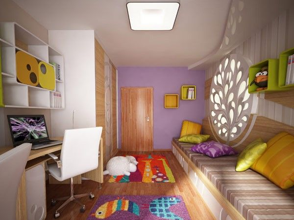 Nursery purple yellow coverlet cabinet wall white Chair wood light carpet