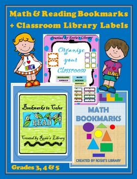This is a collection of math and reading bookmarks plus classroom library and organization labels.  Math bookmarks include:16 Geometric Math Bookmarks covering the following terms:circles, squares, triangles, rectanglespentagons, hexagons, heptagons, octagonscylinders, cubes, polygons, quadrilateralsline segment, ray, lineright triangle, isosceles triangle, scalene triangleintersecting lines, parallel lines, perpendicular linesacute angle, obtuse angle, right angledefinition…