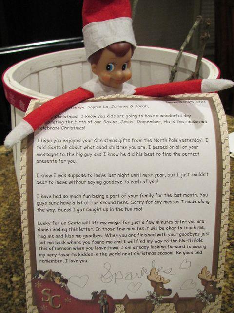 elf on the shelf good bye letter.