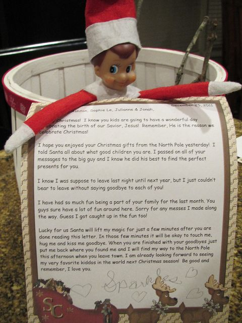 Elf on the Shelf good bye letter....