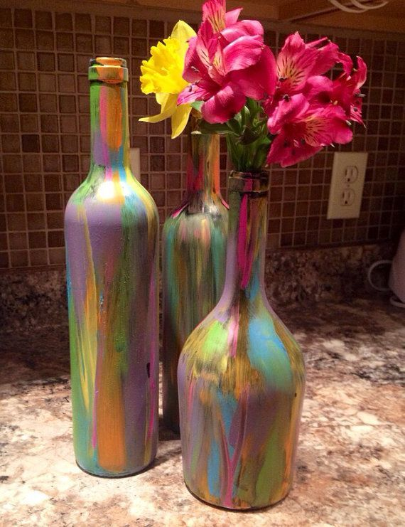 Wine bottle with interior lights can be painted with for Easy wine bottle painting ideas