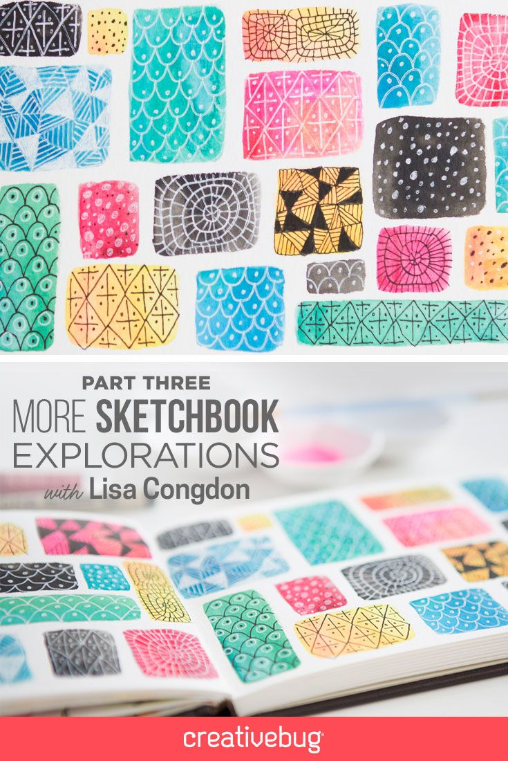 "In part 3 of this amazing series, Lisa Congdon creates a simple background of square and rectangular watercolor shapes, which become the perfect ""swatches"" for experimentation. #Creativebug #sketching #sketchbook"