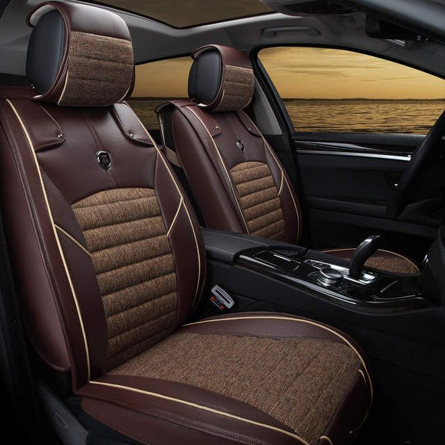 Online Shop Free Shipping 100 Leather Fiberflax Four Colors Black Brown Beige Coffee 5 Seats Car General 944 Leather Car Seats Car Seats Beige Seat Covers