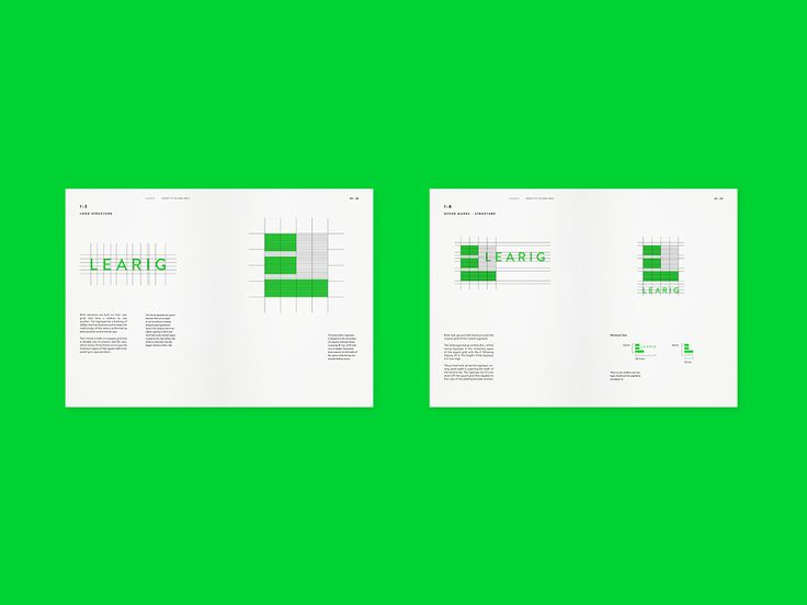 Brand guidelines for commercial and residential property developer Learig designed by The District, United Kingdom