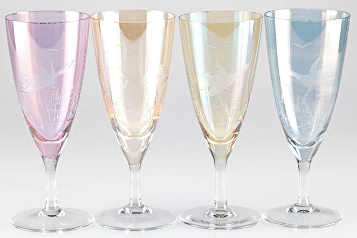 4 zarte Sektgläser irisierend Schliff Vogel Ente bunt Gläser zart rosa 50er U1O