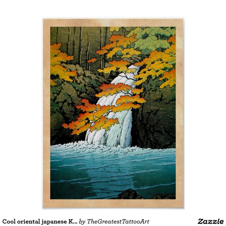 Cool oriental japanese Kawase Senju Waterfall art Poster