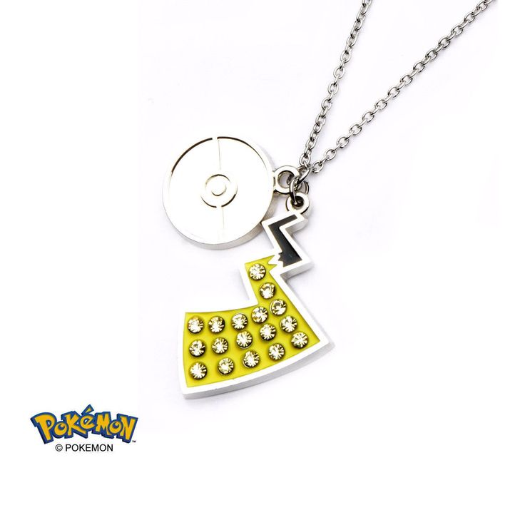 Women's Stainless Steel Pokemon Poke Ball and Pikachu Tail with Clear Gem Pendant with Chain